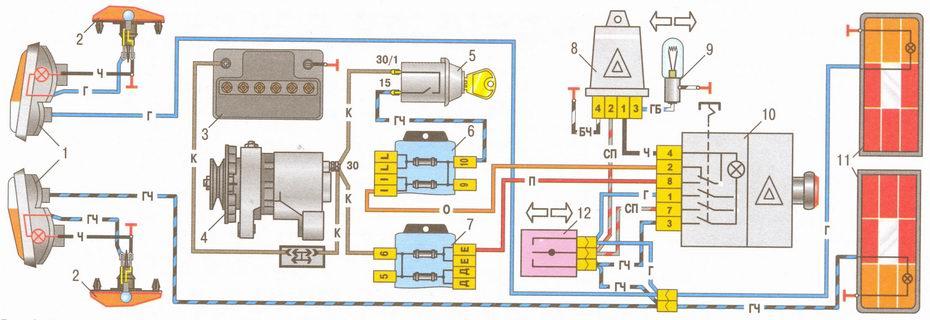 Электрическая схема ВАЗ 2106. ... неисправность генератора,. - проверить...