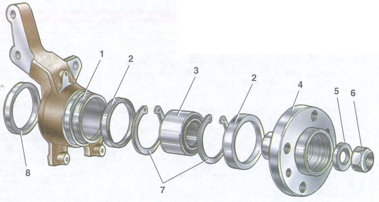 Поворотный кулак и детали ступицы переднего колеса ваз 2109.