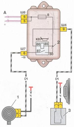 Схема звукового сигнала ваз 2110.